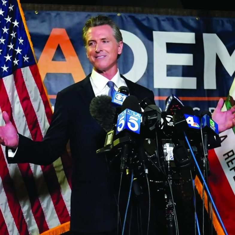 SACRAMENTO, Calif. — California Gov. Gavin Newsom addresses reporters after beating back the recall attempt that aimed to remove him from office, at the John L. Burton California Democratic Party headquarters in Sacramento, Calif., Tuesday, Sept. 14, 2021.